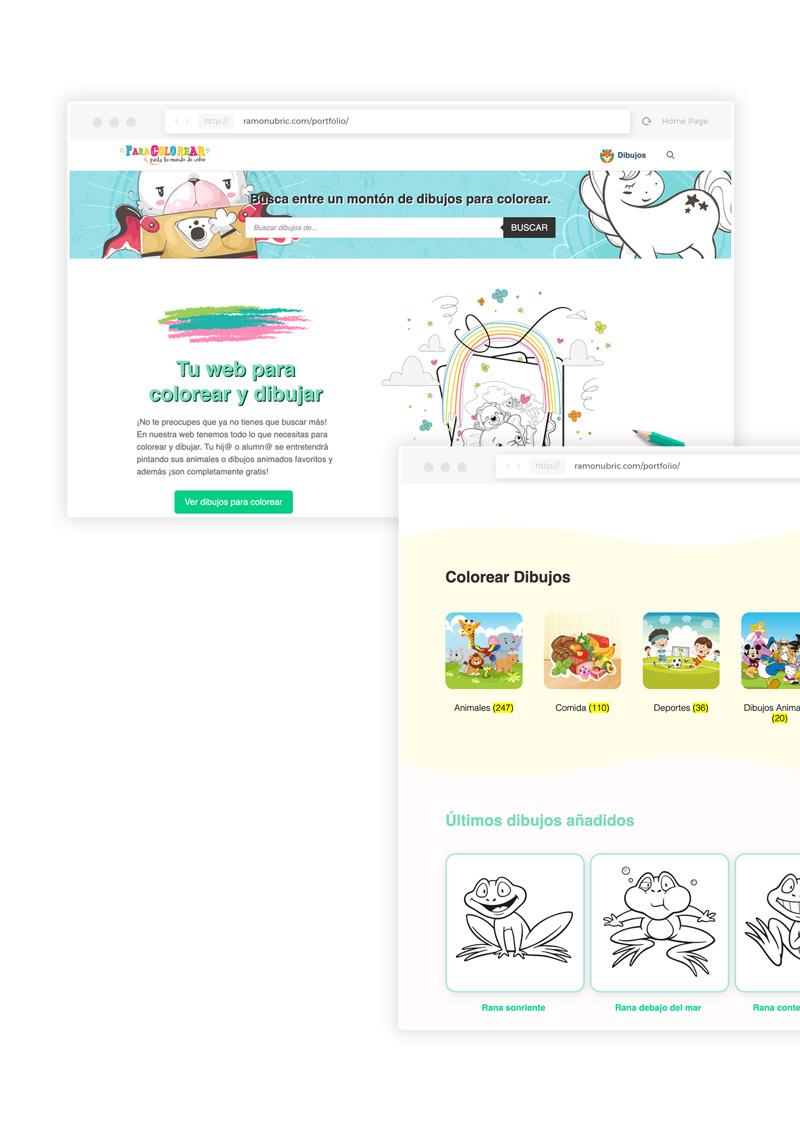 diseño de web de dibujos para colorear