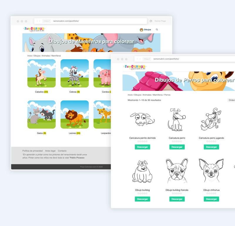 diseño web de dibujos para colorear