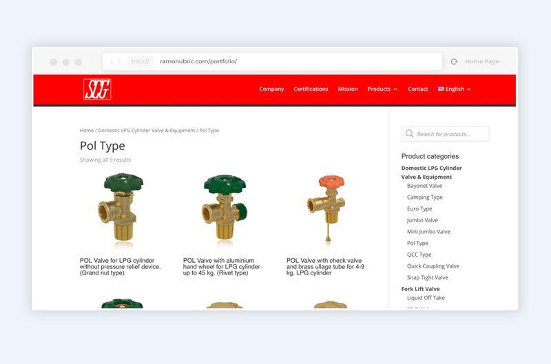 diseño de catálogo web scg