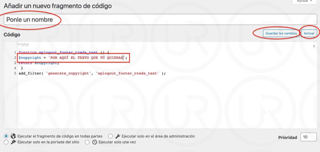 quitar funciona con generatepress con code snippets