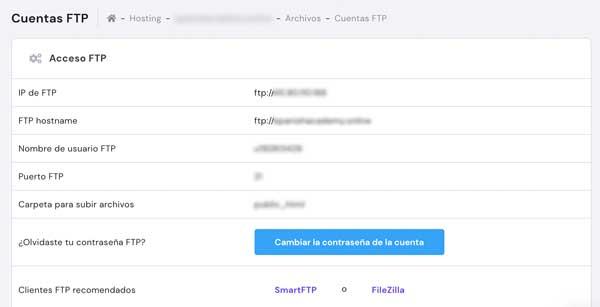 Conectarse por ftp a servidor hosting