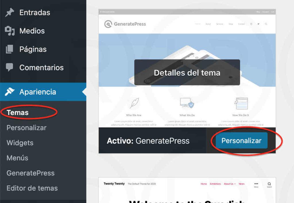 personalizar generatepress quitar copyright